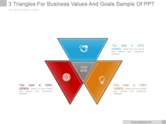 3 Triangles For Business Values And Goals Ppt PowerPoint Presentation Guide