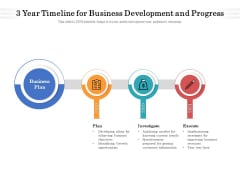 3 Year Timeline For Business Development And Progress Ppt PowerPoint Presentation Gallery Good PDF