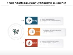 3 Years Advertising Strategy With Customer Success Plan Ppt PowerPoint Presentation Model Clipart Images PDF