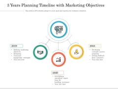 3 Years Planning Timeline With Marketing Objectives Ppt PowerPoint Presentation File Introduction PDF