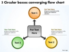 3 Circlular Boxes Converging Flow Chart Cycle PowerPoint Templates