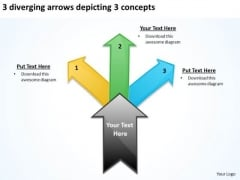 3 Diverging Arrows Depicting Concepts Chart Software PowerPoint Templates