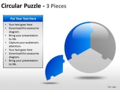 3 Pieces Circle Pie Chart PowerPoint Slides