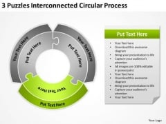 3 Puzzles Interconnected Circular Process Consultant Business Plan PowerPoint Templates