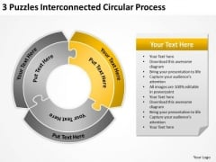 3 Puzzles Interconnected Circular Process Fitness Business Plan PowerPoint Slides