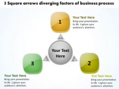 3 Square Arrows Diverging Factors Of Business Process Cycle Chart PowerPoint Templates
