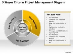 3 Stages Circular Project Management Diagram Business Strategy PowerPoint Templates