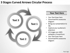 3 Stages Curved Arrows Circular Process How To Form Business Plan PowerPoint Templates