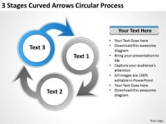 3 Stages Curved Arrows Circular Process Ppt Business Plan Formats PowerPoint Templates