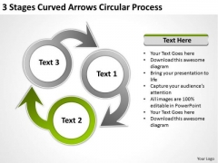 3 Stages Curved Arrows Circular Process Ppt Sample Business Plans Free PowerPoint Slides
