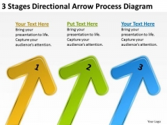 3 Stages Directional Arrow Process Diagram Sample Nonprofit Business Plan PowerPoint Templates