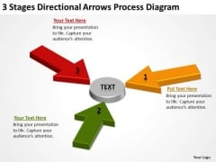 3 Stages Directional Arrows Process Diagram Business Plan Service PowerPoint Templates
