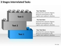 3 Stages Interrelated Tasks Business Plan Model PowerPoint Templates