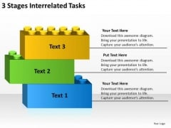 3 Stages Interrelated Tasks Startup Business Plan Template PowerPoint Slides