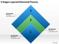 3 Stages Layered Diamond Process Sports Bar Business Plan PowerPoint Templates