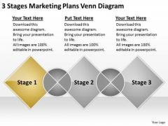 3 Stages Marketing Plans Venn Diagram Samples Of Business PowerPoint Slides