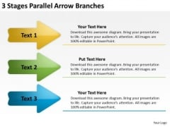 3 Stages Parallel Arrow Branches Buy Business Plan PowerPoint Templates