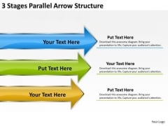 3 Stages Parallel Arrow Structure Business Plan Basics PowerPoint Slides