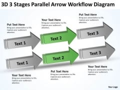 3 Stages Parallel Arrow Workflow Diagram 90 Day Business Plan Examples PowerPoint Templates