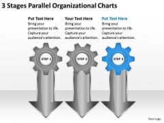 3 Stages Parallel Organizational Charts Business Plan PowerPoint Templates