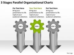 3 Stages Parallel Organizational Charts Real Estate Agent Business Plan PowerPoint Slides