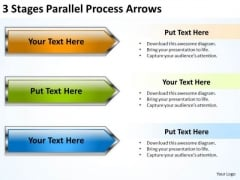 3 Stages Parallel Process Arrows Business Plan Format PowerPoint Templates