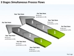 3 Stages Simultaneous Process Flows Business Plan Tools PowerPoint Templates