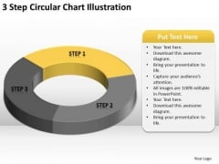 3 Step Circular Chart Illustration Basic Business Plans PowerPoint Slides