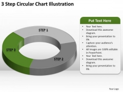 3 Step Circular Chart Illustration Business Plan Template Pages PowerPoint Templates