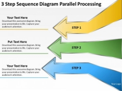 3 Step Sequence Diagram Parallel Processing Record Label Business Plan PowerPoint Templates