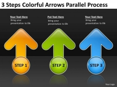 3 Steps Colorful Arrows Parallel Process Business Plan Example Free PowerPoint Slides