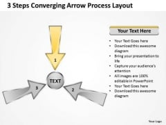 3 Steps Converging Arrow Process Layout Cycle Flow Diagram PowerPoint Template
