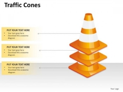 3 Traffic Cones Stacked PowerPoint Slides And Ppt Diagram Templates
