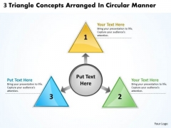 3 Triangle Concepts Arranged In Circular Manner Cycle Diagram PowerPoint Templates