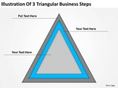 3 Triangular Business Steps Ppt How To Write Small Plan PowerPoint Slides