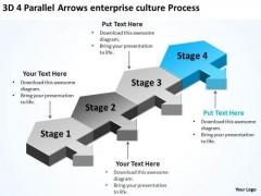 3d 4 Parallel Arrows Enterprise Culture Process Ppt Business Plan Sample PowerPoint Templates