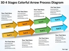 3d 4 Stages Colorful Arrow Process Diagram Business Plan Components PowerPoint Templates