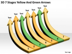 3d 7 Stages Yellow And Green Arrows Business Action Plan Template PowerPoint Slides