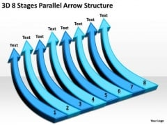 3d 8 Stages Parallel Arrow Structure Restaurants Business Plan PowerPoint Templates