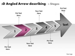 3d Angled Arrow Describing 5 Stages Flowchart Maker PowerPoint Templates