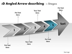 3d Angled Arrow Describing 5 Stages Ppt Business Work Flow Chart PowerPoint Slides