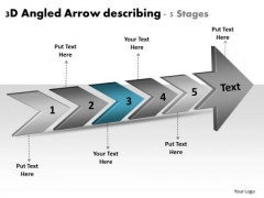 3d Angled Arrow Describing 5 Stages Ppt Flowcharting Tools PowerPoint Slides