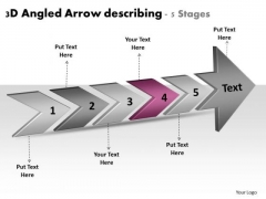 3d Angled Arrow Describing 5 Stages System Flow Charts PowerPoint Templates