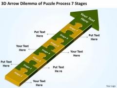 3d Arrow Dilemma Of Puzzle Process 7 Stages Make Flowchart PowerPoint Templates