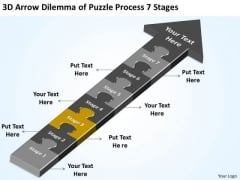 3d Arrow Dilemma Of Puzzle Process 7 Stages Ppt Business Plan Help PowerPoint Slides