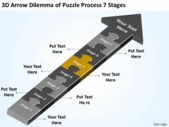 3d Arrow Dilemma Of Puzzle Process 7 Stages Preparing Business Plan PowerPoint Slides