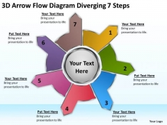 3d Arrow Flow Diagram Diverging 7 Steps Charts And Diagrams PowerPoint Templates