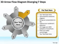 3d Arrow Flow Diagram Diverging 7 Steps Circular PowerPoint Slides