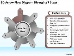 3d Arrow Flow Diagram Diverging 7 Steps Cycle Spoke Chart PowerPoint Slides