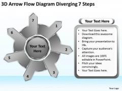 3d Arrow Flow Diagram Diverging 7 Steps Gear Chart PowerPoint Templates